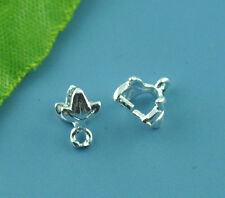 30 Silver Plated Leaf Pinch Bail Findings 7x7mm