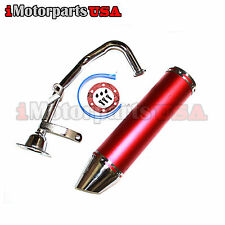 GY6 49CC 50CC 80CC 100CC SCOOTER HIGH PERFORMANCE EXHAUST RACING MUFFLER W/ PIPE