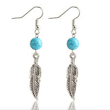 Silver & Turquoise Hippy Earrings - Tibetan Boho Style Charm Surf Jewellery