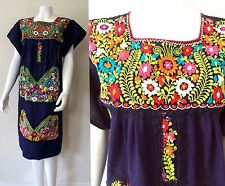 Vtg 70s Mexican Dress Embroidered Floral Midi Caftan Ethnic Oaxacan Lace mini