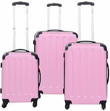 NEW GLOB-ALWAY 3 Pcs Luggage Travel Set Bag ABS+PC Trolley Suitcase Pink