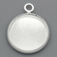 "40PCs Charm Pendants Cabochon Setting Round Silver Plated 6/8""x 5/8"""