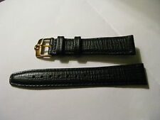 Brand New 18mm Black Leather Strap & Vintage 16mm Omega Gold Plated Buckle