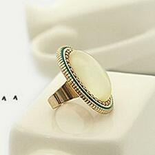 Vintage Alloy White Big Oval Gem Fashion Ring For Men And Women Jewelry