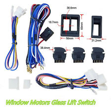 DC12V Car 2-Door Window Glass Regulator Lift Green LED Switch Harness Cable Set