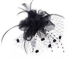 Chic Black Looped Net Feather Fascinator Hair Accessory Ascot Races Weddings