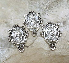 Three (3) Pewter  IMMACULATE HEART OF MARY Rosary Connectors - 5136