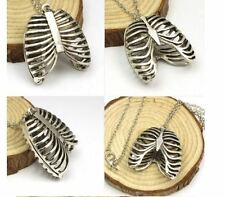 Unisex zinc alloy Long Anatomy Statement  Rib Cage Skeleton necklace pendant