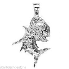 New .925 Sterling Silver Mahi-Mahi Fish Pendant