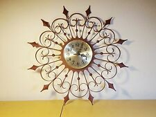 Vtg Mid Century Brutalist Space Age Welby wrought iron starburst wall clock~GVC!