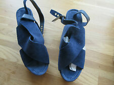 Ladies Next UK6 Wedge Sandals Navy Blue BOXED AND NEW