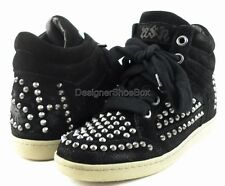 ASH ZEST Black Suede Spike Studded Designer High Top Wedge Sneakers 8.5 EUR 39