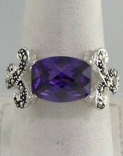 LADIES 925 STERLING SILVER MARCASITE 11x9mm BEVELED PURPLE CZ BAND RING