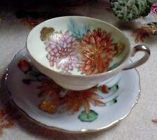 "Hand Painted ""Trimont China"" Occupied Japan Porcelain Footed Teacup & Saucer Set"