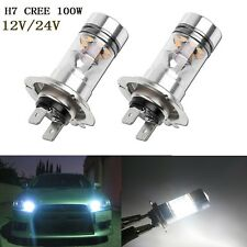 2x HID White H7 6000K 100W LED 20-SMD Cree Projector Fog Driving DRL Light Bulbs
