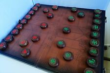 "Chinese Chess, Xiangqi, 22"" MDF w leather Board, 1.9"" Macassar Ebony Pieces"