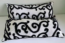 "Borgata Throw Pillows Set of 2 Black & White Swirls Bolster 17"" x 9"""