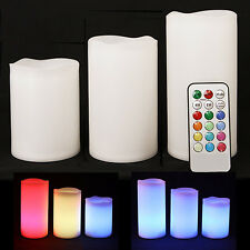 3 WEATHERPROOF OUTDOOR E INDOOR colori cangianti candles-remote Control & Timer
