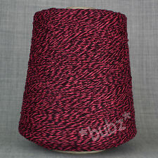 BRITISH SUPER GEELONG SOFT PURE WOOL 500g CONE 3 4 PLY PINK BLACK TWEED MOULINE