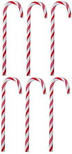 6 RED/WHITE CANDY CANES ORNAMENTS CHRISTMAS TREE DECORATIONS 12,5cm