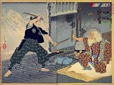 Samurai Warriors Musashi V Bokuden Japón impresión 7x5 Pulgadas Espada Japonesa