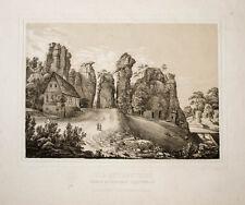 c1850 Externsteine Lippe Teutoburger Wald Getönte Lithographie von J. Braunsdorf