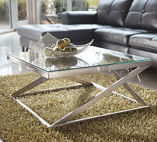 Glass Top Metal Square Cocktail Coffee Table Brushed Nickel Sleek Metro Modern