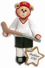 HOCKEY Bear Personalized Christmas Ornament  HANDMADE POLYMER CLAY by Deb & Co.