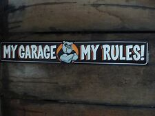 NEW EMBOSSED METAL GARAGE RULES BULL DOG SIGN collectible wall art mancave tools