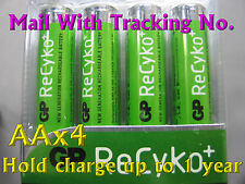 4 GP Rechargeable ReCyko AA 1.2V 2050 mAh NIMH Precharged Battery W/Tracking No