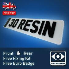 PAIR of 3D Black Domed Resin Raised Gel UK Font Car Number Licence Plates 20