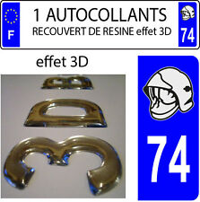 1 sticker plaque immatriculation auto DOMING 3D RESINE CASQUE DE POMPIER DEPA 74