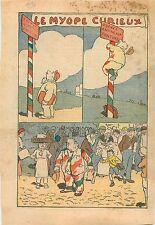 Caricature Humour Myope Curieux Panneau Prenez Garde à la Peinture Costume 1932