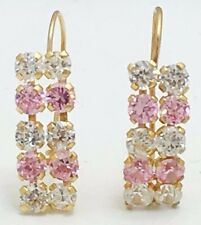 PINK & WHITE SAPPHIRES 14k YELLOW GOLD EARRINGS *Free Shipping