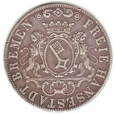 GERMANY / BREMEN 1841 SILVER 36 GROTE (½ THALER) XF 44,000 MINTED