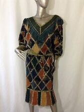 Vintage 80's Suede Leather Fringe Strong Shoulder Top and Straight Skirt Set M