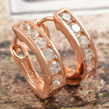 Beautiful New 9K Rose Gold Filled Channel Set CZ Round U Hoop Earrings