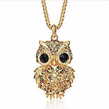 Owl Necklace Pendant Gold Plated Jewelry Wife Women Anniversary Gift For Her NEW