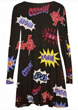 WOMENS PRINTED SWING DRESS SKATER TOP LADIES PLUS SIZE 26 COMIC PRINT