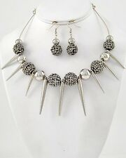 NEW Silver Tone Ccb Bead & Spike Charm Necklace & Dangle Earring Set STATEMENT