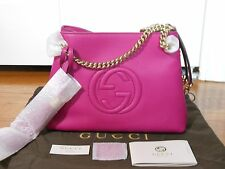 NEW Auth Gucci Soho Small Leather Shoulder Bag Handbag Tote, Bright Pink $1250