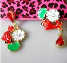 E520 BETSEY JOHNSON GoldFish Gold Fish Koi Gosanke Hindu Lotus Leaf Earrings US