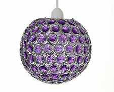 Chrome Acrylic Crystal Effect Jewels Ball Ceiling Light Pendant Shades Rosa New