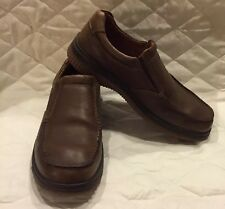 Men's ECCO Brown Leather Slip-On Shoes Rubber Soles SIZE 8 EU  41c