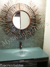 Extra Large NEIMAN MARCUS Birch Branch Sunburst Wall Mirror Cottage Lodge Wood