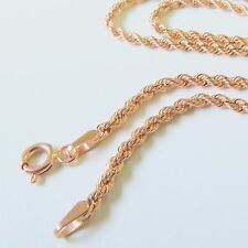 "Pure 18K Rose Gold Necklace Rope Link Chain Necklace 18"" L"