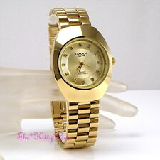 OMAX Classic Waterproof Gold PL Designer Style Stainless Steel Mens Watch WP3899
