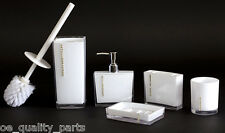 5Pcs Bathroom Toilet Accessories Set Bath Wash Cup Toothbrush Holder Brush White