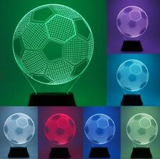 3D LED Football Soccer Bulb Illusion USB Night Desk Table Lamp Light  7 Color UK