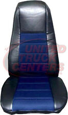 Seat Cover w/Pocket- Black & Blue Faux Leather Peterbilt Freightliner Semi Truck